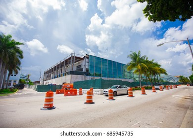 USA. FLORIDA. MIAMI. JULY, 2017: Construction Miami Beach Convention Center.