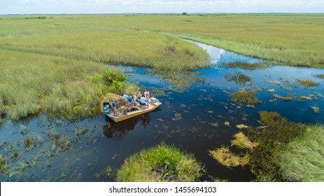 USA. FLORIDA. MIAMI. JULY 2019: Airboat tour. Everglades National Park.