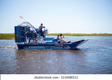 USA. FLORIDA. MIAMI. JUNE 2018: Everglades airboat tour.