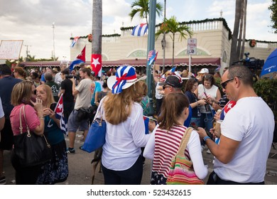 USA, FLORIDA, MIAMI, LITTLE HAVANA: NOVEMBER 26, 2016. Miami's Little Havana celebrates Fidel Castro's death. Tears in Havana, Cuba and cheers in Miami. Editorial use only.