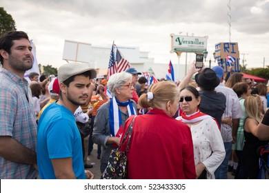 USA, FLORIDA, MIAMI, LITTLE HAVANA: NOVEMBER 26, 2016. Miami's Little Havana celebrates Fidel Castro's death. Tears in Havana, Cuba and cheers in Miami. Editorial use only.