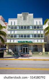 USA, FLORIDA, MIAMI: NOVEMBER 11, 2016. Renovated Hotel in Art Deco architectural district, one of the main tourist attractions in Miami, South Beach.