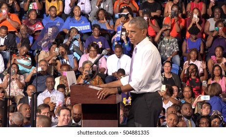 USA, FLORIDA, OCTOBER 20, 2016: President of USA Barack Obama meet with students of Florida Memorial University. Speech on behalf presidential candidate Hillary Clinton. Election. Editorial use only.