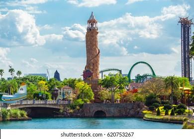 USA, FLORIDA, ORLANDO. APRIL, 2017: Universal studios city walk. Lighthouse, entrance to Islands of Adventure.
