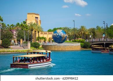 USA, FLORIDA, ORLANDO. APRIL, 2017: Universal Globe at Universal Studios. Universal City Walk.