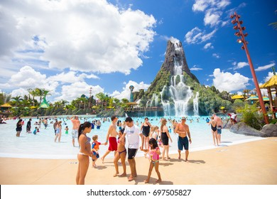 USA. FLORIDA. ORLANDO. AUGUST, 2017: New aquapark Volcano Bay Universal.