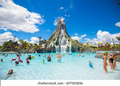 USA. FLORIDA. ORLANDO. AUGUST, 2017: New aquapark Volcano Bay Universal.