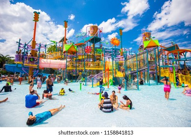USA. FLORIDA. ORLANDO. AUGUST 2018: Water parks Aquatica -  Sea World. Water slides.
