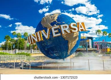 USA. FLORIDA. ORLANDO. FEBRUARY 2019: Universal Globe at Universal Studios Florida theme park. Orlando, Florida, USA.
