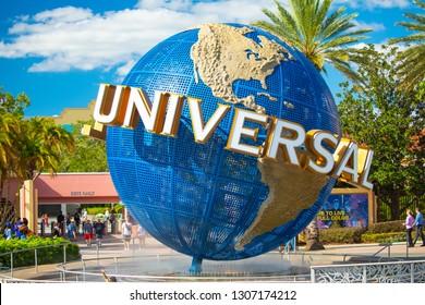USA. FLORIDA. ORLANDO. FEBRUARY 2019: The famous Universal Globe at Universal Studios Florida theme park. Night view. Universal Walk. Florida. Orlando. USA.