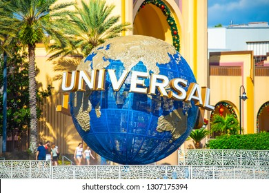 USA. FLORIDA. ORLANDO. FEBRUARY 2019: Universal blue ball. Entrance to Universal Studios park.