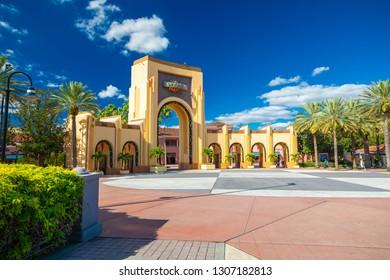 USA. FLORIDA. ORLANDO. FEBRUARY 2019: Entrance to Universal Studios park.