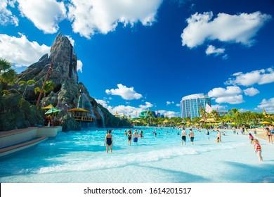 USA. FLORIDA. ORLANDO. JANUARY 2020: Aquapark Volcano Bay by Universal.