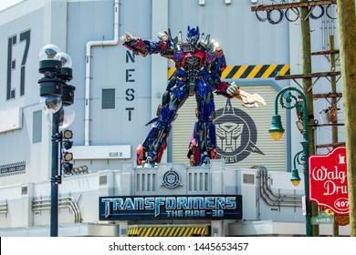 USA. FLORIDA. ORLANDO. JULY 2019: Transformer Optimus Prime.