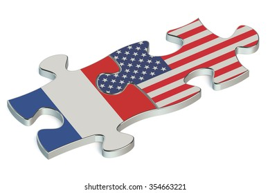 USA and France puzzles from flags