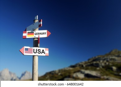 USA and German flag in two directions on road sign. Relationships and differences of society and politics