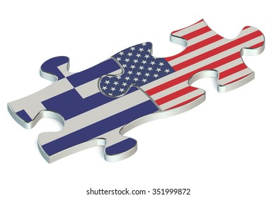 USA and Greece puzzles from flags