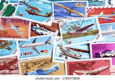 USA, GRENADA, GERMANY, RUSSIA, YUGOSLAVIA, LAOS POLAND - CIRCA 1950-2000 : Postage stamps printed by USA, Grenada, Germany, Russia, Yugoslavia, Laos, Poland, that show airplanes, circa 1950-2000