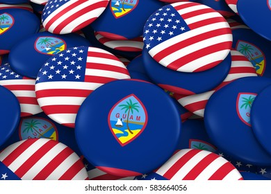 USA and Guam Badges Background - Pile of American and Guamanian Flag Buttons 3D Illustration