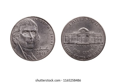 USA half dime nickel coin (25 cents) with a portrait image of Thomas Jefferson obverse and Montecello reverse cut out and isolated on a white background