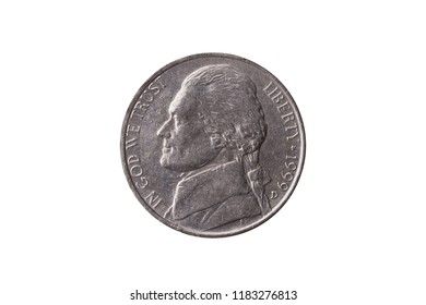 USA half dime nickel coin (25 cents) dated 1999 with a portrait image of Thomas Jefferson cut out and isolated on a white background