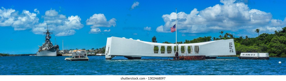 USA, HAWAII - AUGUST 31, 2018:Panorama of the USS Arizona Memorial with the flag flying half mast at Pearl Harbor Hawaii.waii.