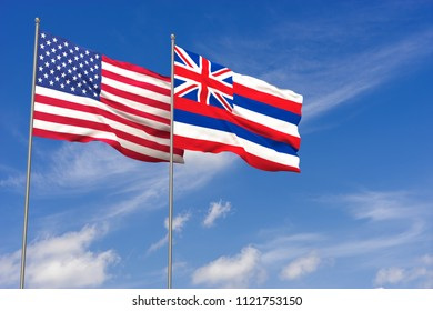 USA and Hawaii flags over blue sky background. 3D illustration
