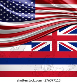 USA and Hawaii State Flag on world map background