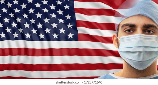 USA Health care, coronavirus outbreak concept. Doctor with protective gear on United states of America flag background.