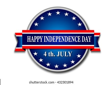 USA Independence Day Banner on white background