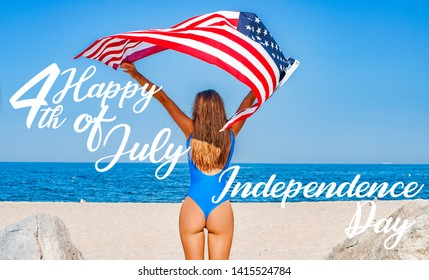 USA Independence day, Happy 4th july. United States celebrate holiday 4th of July. Young happy woman holding  american flag on the beach.