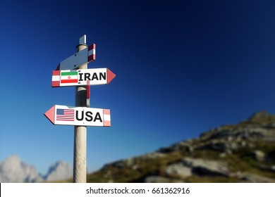 USA and Iran. Flags in two directions on road sign. Relationships and differences with Iranian society and politics