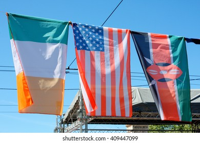 USA and Ireland flags with some other