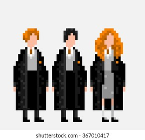 USA, JANUARY 25, 2016: Stylized pixel art illustration of three main characters of Harry Potter novels and movies Ron Weasley, Harry Potter and Hermione Granger