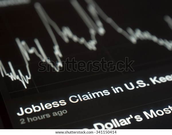 USA Jobless graph on a tablet screen