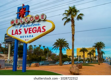 USA. LAS VEGAS. NEVADA. December 2017 Welcome sign in Las Vegas , view from the street