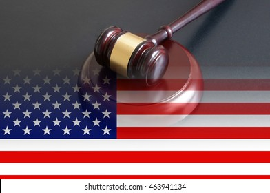 usa legal concept, judge wooden gavel on table and flag of United States