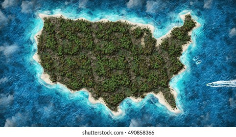 USA map in 3D