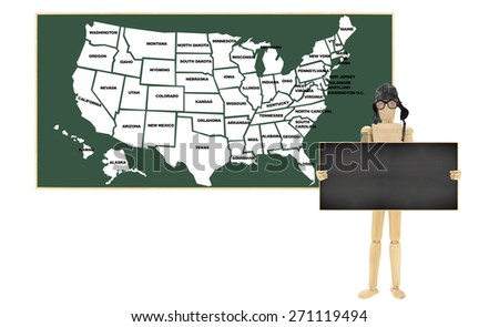 Usa Map Chalkboard Wood Mannequin Wearing Stock Photo Edit Now