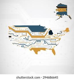 USA Map, circuit board background, technology illustration