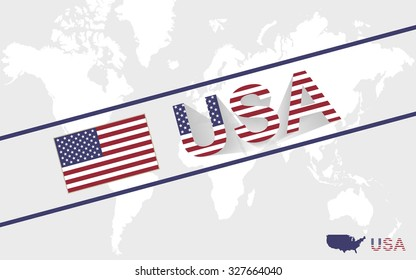 USA map flag and text illustration, on world map, Rasterized Copy