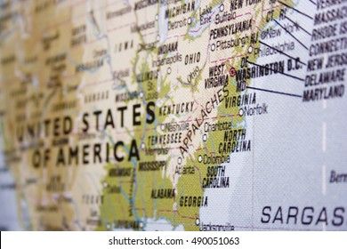 USA map with focus on eastern coast. Landscape orientation.
