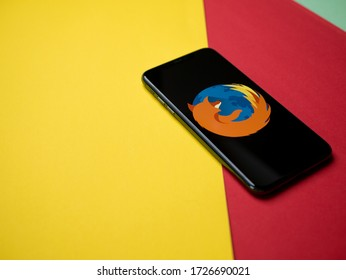 USA - May, 2020 Mozilla firefox Iphone Application Screen on colored paper background. Firefox