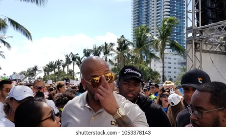 USA. MIAMI. FLORIDA. MARCH, 2018. Flo Rida participate in March for Our Lives.  Tramar Lacel Dillard, known professionally as Flo Rida, is an American rapper, singer, songwriter and composer.