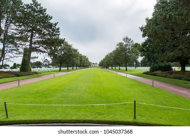 USA Military Cemetery, Colleville sur Mer, Normandy, France - 31 August 2017: Normandy American Cemetery and Memorial is a World War II cemetery and memorial in Colleville-sur-Mer, Normandy, France