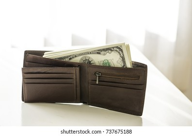 USA million dollars bill in the leather purse
