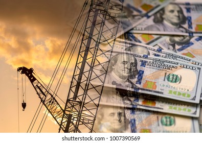 USA Money and Construction crane concept picture about industry