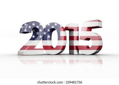 Usa national flag against 2015