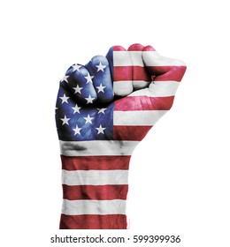 USA national flag painted onto a male clenched fist. Strength, Power, Protest concept