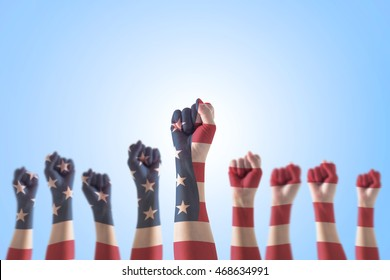USA national flag pattern on leader's fist for human rights, leadership, labor concept
